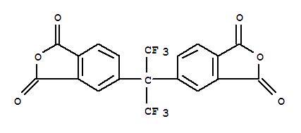 1107-00-2,1,3-Isobenzofurandione,5,5'-[2,2,2-trifluoro-1-(trifluoromethyl)ethylidene]bis-,Hexafluoroisopropylidene-2,2-bis(phthalic anhydride);[2,2,2-Trifluoro-1-(trifluoromethyl)ethylidene]diphthalic anhydride;Phthalicanhydride, 4,4'-[2,2,2-trifluoro-1-(trifluoromethyl)ethylidene]di- (7CI);Phthalic anhydride, 4,4'-[trifluoro-1-(trifluoromethyl)ethylidene]di- (8CI);2,2-Bis(3,4-dicarboxyphenyl)-1,1,1,3,3,3-hexafluoropropane dianhydride;2,2-Bis(3,4-dicarboxyphenyl)hexafluoropropane dianhydride;4,4'-(Hexafluoroisopropylidene)bis(phthalic anhydride);4,4'-(Hexafluoroisopropylidene)diphthalic dianhydride;4,4'-Hexafluoroisopropylidenebis(benzene-1,2-dicarboxylic acid dianhydride);4,4'-Hexafluoroisopropylidenebisphthalic dianhydride;4,4'-Hexafluoropropylidenebisphthalic acid dianhydride;