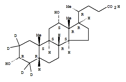 Molecular Structure of 112076-61-6 (Cholan-24-oic-2,2,4,4-d4acid, 3,12-dihydroxy-, (3a,5b,12a)-)