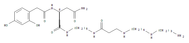 Molecular Structure of 112163-33-4 (Butanediamide, N1-[5-[[3-[[4-[(3-aminopropyl)amino]butyl]amino]-1-oxopropyl]amino]pentyl]-2-[2-[(2,4-dihydroxyphenyl)acetyl]amino]-, (2S)-)