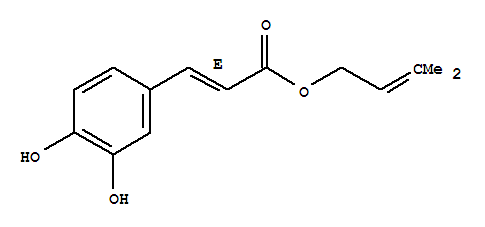 Molecular Structure of 118971-61-2 (2-Propenoic acid,3-(3,4-dihydroxyphenyl)-, 3-methyl-2-buten-1-yl ester, (2E)-)