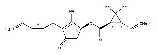 CAS NO:121-21-1 Cyclopropanecarboxylicacid, 2,2-dimethyl-3-(2-methyl-1-propen-1-yl)-,(1S)-2-methyl-4-oxo-3-(2Z)-2,4-pentadien-1-yl-2-cyclopenten-1-yl ester,(1R,3R)- Molecular Structure