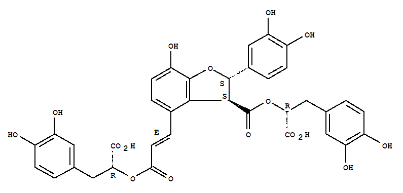Molecular Structure of 121521-90-2 (3-Benzofurancarboxylicacid,4-[(1E)-3-[(1R)-1-carboxy-2-(3,4-dihydroxyphenyl)ethoxy]-3-oxo-1-propen-1-yl]-2-(3,4-dihydroxyphenyl)-2,3-dihydro-7-hydroxy-,3-[(1R)-1-carboxy-2-(3,4-dihydroxyphenyl)ethyl] ester, (2S,3S)-)