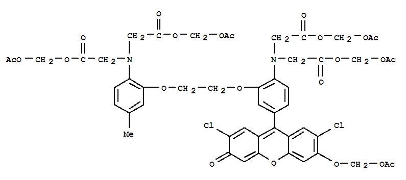 121714-22-5,Glycine,N-[4-[6-[(acetyloxy)methoxy]-2,7-dichloro-3-oxo-3H-xanthen-9-yl]-2-[2-[2-[bis[2-[(acetyloxy)methoxy]-2-oxoethyl]amino]-5-methylphenoxy]ethoxy]phenyl]-N-[2-[(acetyloxy)methoxy]-2-oxoethyl]-,(acetyloxy)methyl ester,Fluo 3pentaacetoxymethyl ester; Fluo 3AM