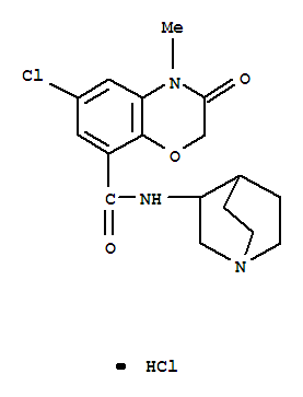 Molecular Structure of 123040-16-4 (2H-1,4-Benzoxazine-8-carboxamide,N-1-azabicyclo[2.2.2]oct-3-yl-6-chloro-3,4-dihydro-4-methyl-3-oxo-,hydrochloride (1:1))