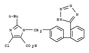 Molecular Structure of 124750-92-1 (1H-Imidazole-5-carboxylicacid, 2-butyl-4-chloro-1-[[2'-(2H-tetrazol-5-yl)[1,1'-biphenyl]-4-yl]methyl]-)