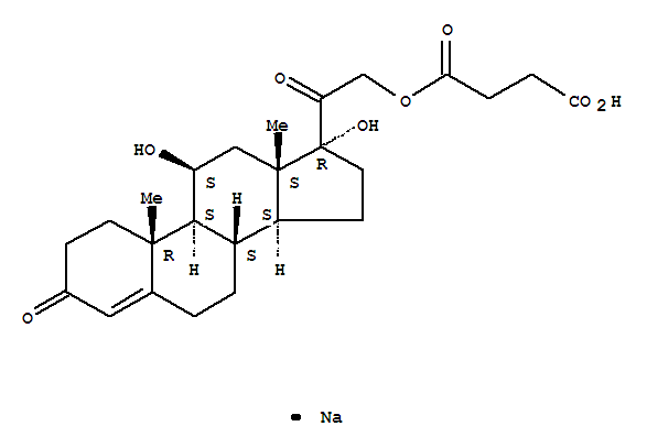 Molecular Structure of 125-04-2 (Pregn-4-ene-3,20-dione,21-(3-carboxy-1-oxopropoxy)-11,17-dihydroxy-, sodium salt (1:1), (11b)-)