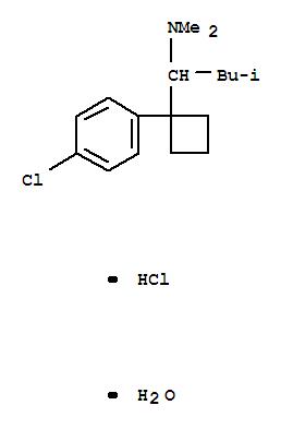 Molecular Structure of 125494-59-9 (Cyclobutanemethanamine,1-(4-chlorophenyl)-N,N-dimethyl-a-(2-methylpropyl)-, hydrochloride, hydrate (1:1:1))