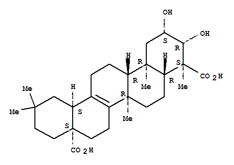 Molecular Structure of 1260-04-4 (27-Norolean-13-ene-23,28-dioicacid, 2,3-dihydroxy-, (2b,3b,4a)-)