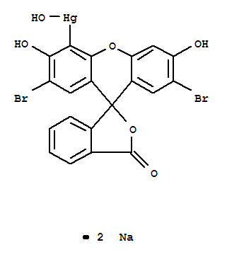 Molecular Structure of 129-16-8 (Mercury,(2',7'-dibromo-3',6'-dihydroxy-3-oxospiro[isobenzofuran-1(3H),9'-[9H]xanthen]-4'-yl)hydroxy-,sodium salt (1:2))