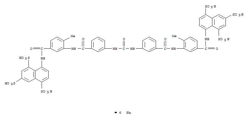 Molecular Structure of 129-46-4 (1,3,5-Naphthalenetrisulfonicacid,8,8'-[carbonylbis[imino-3,1-phenylenecarbonylimino(4-methyl-3,1-phenylene)carbonylimino]]bis-,sodium salt (1:6))