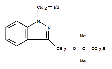 130641-38-2,Propanoic acid,2-methyl-2-[[1-(phenylmethyl)-1H-indazol-3-yl]methoxy]-,2-[(1-Benzyl-1H-indazol-3-yl)methoxy]-2-methylpropanoic acid;2-Methyl-2-((1-(phenylmethyl)-1H-indazol-3-yl)methoxy)propanoic acid;AF 2838;