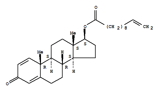 Molecular Structure of 13103-34-9 (Androsta-1,4-dien-3-one,17-[(1-oxo-10-undecenyl)oxy]-, (17b)-)
