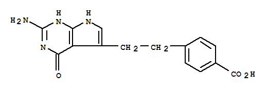 Molecular Structure of 137281-39-1 (Benzoic acid,4-[2-(2-amino-4,7-dihydro-4-oxo-3H-pyrrolo[2,3-d]pyrimidin-5-yl)ethyl]-)