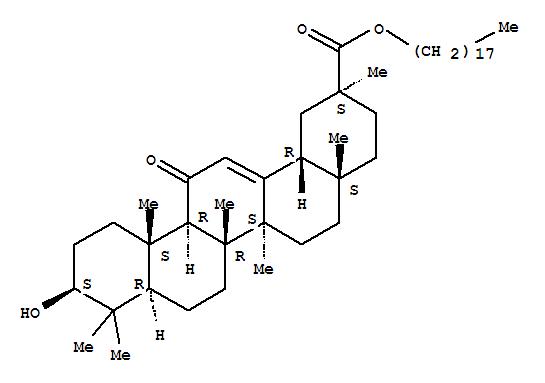 13832-70-7,Olean-12-en-29-oicacid, 3-hydroxy-11-oxo-, octadecyl ester, (3b,20b)-,Olean-12-en-30-oicacid, 3b-hydroxy-11-oxo-, octadecyl ester(8CI); CO-Grhetinol; Octadecyl glycyrrhetinate; Stearyl glycyrrhetate; Stearylglycyrrhetinate; n-Octadecyl glycyrrhetinate; a-Glycyrrhetinic acid stearyl ester
