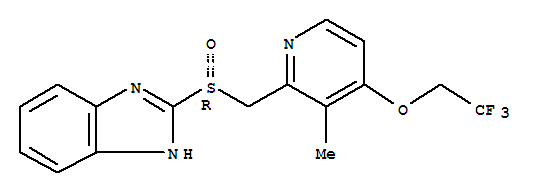 Molecular Structure of 138530-94-6 (1H-Benzimidazole,2-[(R)-[[3-methyl-4-(2,2,2-trifluoroethoxy)-2-pyridinyl]methyl]sulfinyl]-)
