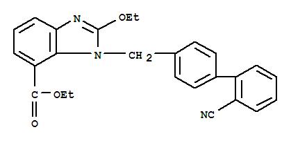 Molecular Structure of 139481-41-7 (1H-Benzimidazole-7-carboxylicacid-1-[(2′cyano[1,1′- biphenyl]-4-yl)methyl]-2-ethoxy-ethylester)