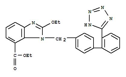 Molecular Structure of 139481-58-6 (1H-Benzimidazole-7-carboxylic acid, 2-ethoxy-1-[[2'-(2H-tetrazol-5-yl)[1,1'-biphenyl]-4-yl]methyl]-, ethyl ester)