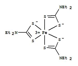 CAS NO:13963-59-2 Iron,tris(N,N-diethylcarbamodithioato-kS,kS')-, (OC-6-11)- Molecular Structure