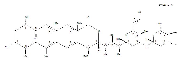 144450-35-1,Oxacyclooctadeca-3,5,13,15-tetraen-2-one,18-[(1S,2R,3S)-3-[(2R,4R,5S,6R)-4-[[4-O-(aminocarbonyl)-2,6-dideoxy-b-D-arabino-hexopyranosyl]oxy]tetrahydro-2-hydroxy-5-methyl-6-(1E)-1-propen-1-yl-2H-pyran-2-yl]-2-hydroxy-1-methylbutyl]-8,10-dihydroxy-3,17-dimethoxy-5,7,11,13-tetramethyl-,(3Z,5E,7R,8S,10R,11R,13E,15E,17S,18R)-,ConcanamycinA, 8-deethyl-; Oxacyclooctadeca-3,5,13,15-tetraen-2-one,18-[(1S,2R,3S)-3-[(2R,4R,5S,6R)-4-[[4-O-(aminocarbonyl)-2,6-dideoxy-b-D-arabino-hexopyranosyl]oxy]tetrahydro-2-hydroxy-5-methyl-6-(1E)-1-propenyl-2H-pyran-2-yl]-2-hydroxy-1-methylbutyl]-8,10-dihydroxy-3,17-dimethoxy-5,7,11,13-tetramethyl-,(3Z,5E,7R,8S,10R,11R,13E,15E,17S,18R)- (9CI); Oxacyclooctadecane, concanamycinA deriv.; Concanamycin E