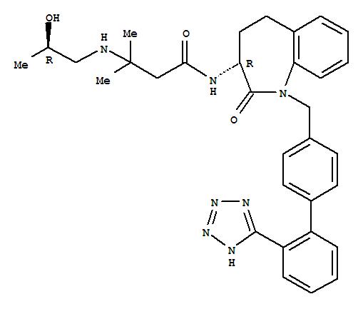 145455-35-2,Butanamide,3-[[(2R)-2-hydroxypropyl]amino]-3-methyl-N-[(3R)-2,3,4,5-tetrahydro-2-oxo-1-[[2'-(1H-tetrazol-5-yl)[1,1'-biphenyl]-4-yl]methyl]-1H-1-benzazepin-3-yl]-,Butanamide,3-[(2-hydroxypropyl)amino]-3-methyl-N-[2,3,4,5-tetrahydro-2-oxo-1-[[2'-(1H-tetrazol-5-yl)[1,1'-biphenyl]-4-yl]methyl]-1H-1-benzazepin-3-yl]-,[R-(R*,R*)]-; 1H-1-Benzazepine, butanamide deriv.; L 692585
