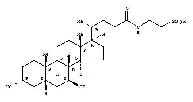 Molecular Structure of 14605-22-2 (Ethanesulfonic acid,2-[[(3a,5b,7b)-3,7-dihydroxy-24-oxocholan-24-yl]amino]-)