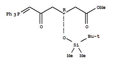 Molecular Structure of 147118-35-2 (Hexanoic acid,3-[[(1,1-dimethylethyl)dimethylsilyl]oxy]-5-oxo-6-(triphenylphosphoranylidene)-,methyl ester, (3R)-)