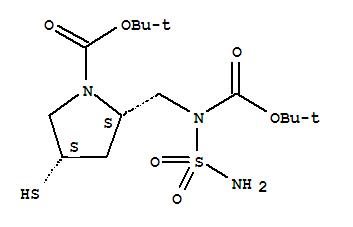 CAS NO:148017-44-1 1-Pyrrolidinecarboxylicacid,2-[[(aminosulfonyl)[(1,1-dimethylethoxy)carbonyl]amino]methyl]-4-mercapto-,1,1-dimethylethyl ester, (2S,4S)- Molecular Structure