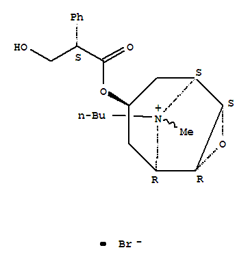 Molecular Structure of 149-64-4 (3-Oxa-9-azoniatricyclo[3.3.1.02,4]nonane,9-butyl-7-[(2S)-3-hydroxy-1-oxo-2-phenylpropoxy]-9-methyl-, bromide (1:1), (1a,2b,4b,5a,7b)-)