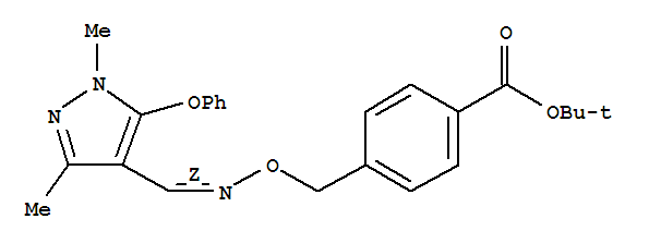 Molecular Structure of 149054-53-5 (Benzoic acid,4-[[[(Z)-[(1,3-dimethyl-5-phenoxy-1H-pyrazol-4-yl)methylene]amino]oxy]methyl]-,1,1-dimethylethyl ester)