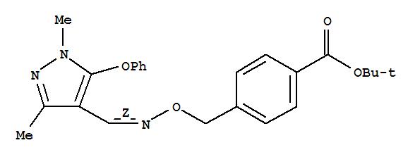 Molecular Structure of 149054-53-5 (Benzoic acid,4-[[[(Z)-[(1,3-dimethyl-5-phenoxy-1H-pyrazol-4-yl)methylene]amino]oxy]methyl]-,1,1-dimethylethyl ester)