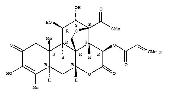 Molecular Structure of 14907-98-3 (Picras-3-en-21-oicacid,13,20-epoxy-3,11,12-trihydroxy-15-[(3-methyl-1-oxo-2-buten-1-yl)oxy]-2,16-dioxo-,methyl ester, (11b,12a,15b)-)