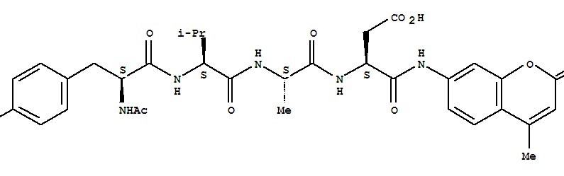 Molecular Structure of 149231-65-2 (L-a-Asparagine,N-acetyl-L-tyrosyl-L-valyl-L-alanyl-N-(4-methyl-2-oxo-2H-1-benzopyran-7-yl)-(9CI))