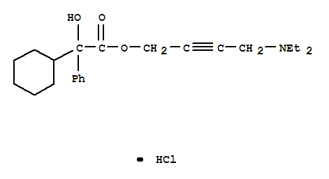 Molecular Structure of 1508-65-2 (Benzeneacetic acid, a-cyclohexyl-a-hydroxy-,4-(diethylamino)-2-butyn-1-yl ester, hydrochloride (1:1))