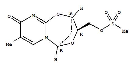 Molecular Structure of 15981-86-9 (2,5-Methano-5H,9H-pyrimido[2,1-b][1,5,3]dioxazepin-9-one,2,3-dihydro-8-methyl-3-[[(methylsulfonyl)oxy]methyl]-, (2R,3R,5R)-)