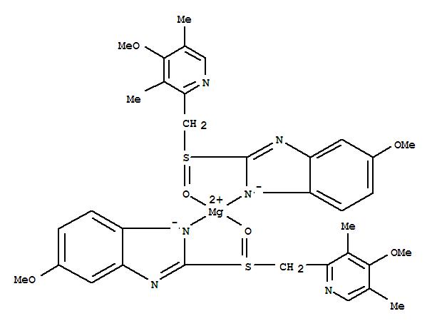 161973-10-0,Magnesium,bis[6-methoxy-2-[(S)-[(4-methoxy-3,5-dimethyl-2-pyridinyl)methyl]sulfinyl-kO]-1H-benzimidazolato-kN3]-, (T-4)-,Magnesium,bis[5-methoxy-2-[[(4-methoxy-3,5-dimethyl-2-pyridinyl)methyl]sulfinyl]-1H-benzimidazolato]-,[T-4-(S),(S)]-;(-)-Omeprazole magnesium;(S)-Omeprazole magnesium;H 199/18;Nexium;Perprazole;Raciper;