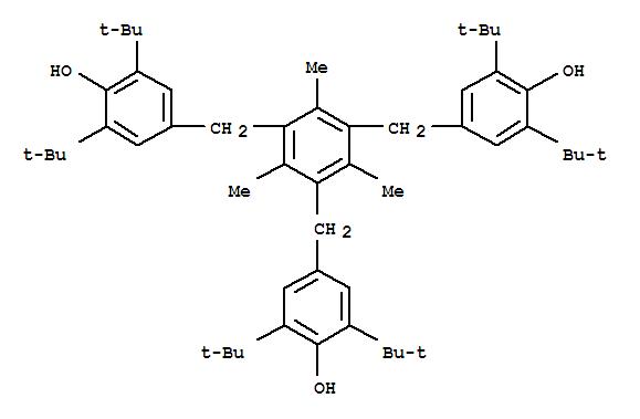 Molecular Structure of 1709-70-2 (Phenol,4,4',4''-[(2,4,6-trimethyl-1,3,5-benzenetriyl)tris(methylene)]tris[2,6-bis(1,1-dimethylethyl)-)
