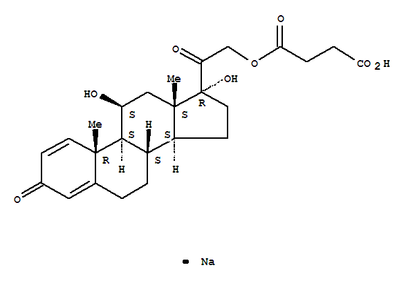 Pregna-1,4-diene-3,20-dione,21-(3-carboxy-1-oxopropoxy)-11,17-dihydroxy-, monosodium salt, (11b)-