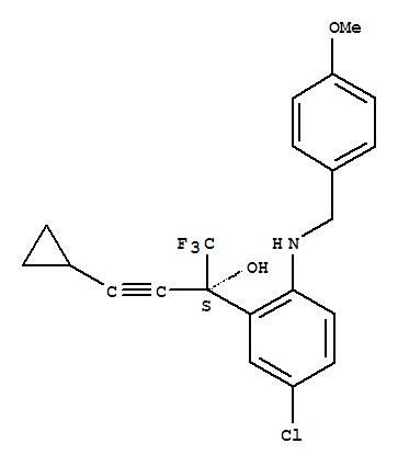 Molecular Structure of 173676-60-3 (Benzenemethanol,5-chloro-a-(2-cyclopropylethynyl)-2-[[(4-methoxyphenyl)methyl]amino]-a-(trifluoromethyl)-, (aS)-)