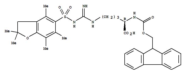 187618-60-6,D-Ornithine,N5-[[[(2,3-dihydro-2,2,4,6,7-pentamethyl-5-benzofuranyl)sulfonyl]amino]iminomethyl]-N2-[(9H-fluoren-9-ylmethoxy)carbonyl]-,N'-[(2,3-Dihydro-2,2,4,6,7-pentamethyl-5-benzofuranyl)sulfonyl]-N-[(9H-fluoren-9-ylmethoxy)carbonyl]-D-arginine;