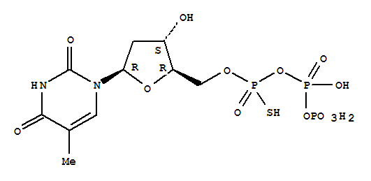 Molecular Structure of 18883-94-8 (Thymidine, 5'®P''-ester with thiotriphosphoricacid ((HO)2P(O)OP(O)(OH)OP(O)(OH)(SH)))