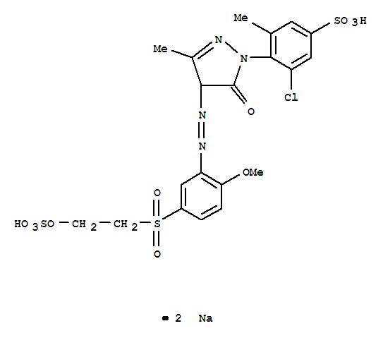 Molecular Structure of 18976-74-4 (Benzenesulfonic acid,3-chloro-4-[4,5-dihydro-4-[2-[2-methoxy-5-[[2-(sulfooxy)ethyl]sulfonyl]phenyl]diazenyl]-3-methyl-5-oxo-1H-pyrazol-1-yl]-5-methyl-,sodium salt (1:2))