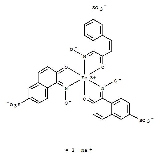 Molecular Structure of 19381-50-1 (Ferrate(3-),tris[5,6-dihydro-5-(hydroxyimino-kN)-6-(oxo-kO)-2-naphthalenesulfonato(2-)]-,sodium (1:3))