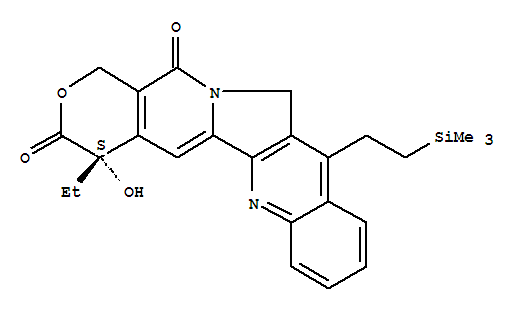 Molecular Structure of 203923-89-1 (1H-Pyrano[3',4':6,7]indolizino[1,2-b]quinoline-3,14(4H,12H)-dione,4-ethyl-4-hydroxy-11-[2-(trimethylsilyl)ethyl]-, (4S)-)