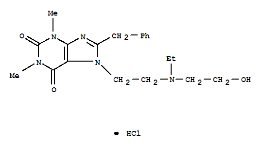Molecular Structure of 20684-06-4 (1H-Purine-2,6-dione,7-[2-[ethyl(2-hydroxyethyl)amino]ethyl]-3,7-dihydro-1,3-dimethyl-8-(phenylmethyl)-,hydrochloride)