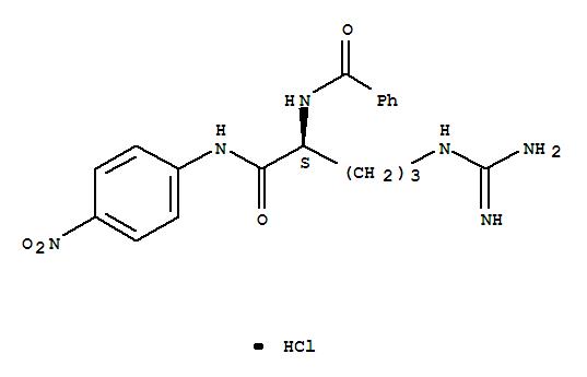 CAS NO:21653-40-7 Benzamide,N-[(1S)-4-[(aminoiminomethyl)amino]-1-[[(4-nitrophenyl)amino]carbonyl]butyl]-,monohydrochloride (9CI) Molecular Structure