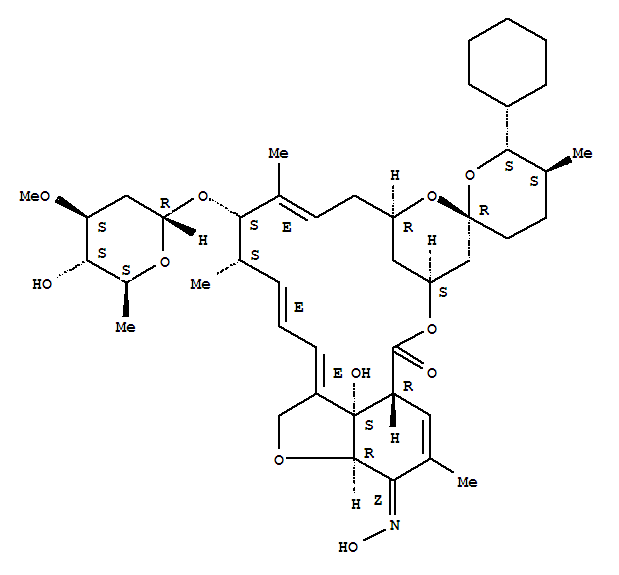 Molecular Structure of 220119-17-5 (Avermectin A1a,25-cyclohexyl-4'-O-de(2,6-dideoxy-3-O-methyl-a-L-arabino-hexopyranosyl)-5-demethoxy-25-de(1-methylpropyl)-22,23-dihydro-5-(hydroxyimino)-,(5Z)-)
