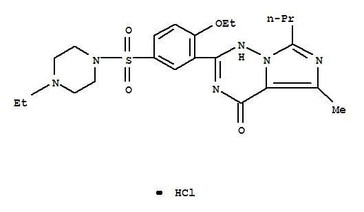 224785-91-5,Vardenafil hydrochloride,Piperazine,1-[[3-(1,4-dihydro-5-methyl-4-oxo-7-propylimidazo[5,1-f][1,2,4]triazin-2-yl)-4-ethoxyphenyl]sulfonyl]-4-ethyl-,monohydrochloride (9CI);Levitra;