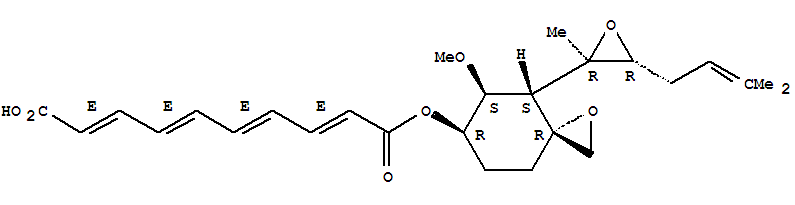 Molecular Structure of 23110-15-8 (2,4,6,8-Decatetraenedioicacid,1-[(3R,4S,5S,6R)-5-methoxy-4-[(2R,3R)-2-methyl-3-(3-methyl-2-buten-1-yl)-2-oxiranyl]-1-oxaspiro[2.5]oct-6-yl]ester, (2E,4E,6E,8E)-)