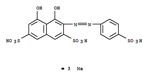 Molecular Structure of 23647-14-5 (2,7-Naphthalenedisulfonicacid, 4,5-dihydroxy-3-[2-(4-sulfophenyl)diazenyl]-, sodium salt (1:3))