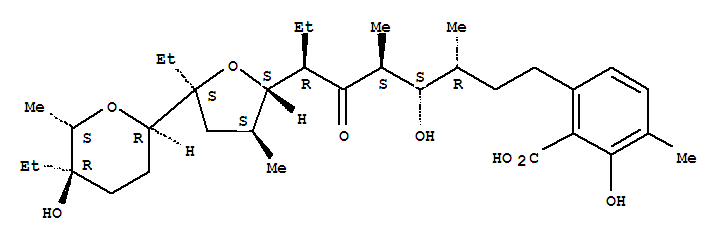 Benzoic acid,6-[(3R,4S,5S,7R)-7-[(2S,3S,5S)-5-ethyl-5-[(2R,5R,6S)-5-ethyltetrahydro-5-hydroxy-6-methyl-2H-pyran-2-yl]tetrahydro-3-methyl-2-furanyl]-4-hydroxy-3,5-dimethyl-6-oxononyl]-2-hydroxy-3-methy